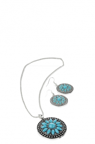 FFOMO Turquoise Bead Necklace and Earring Set