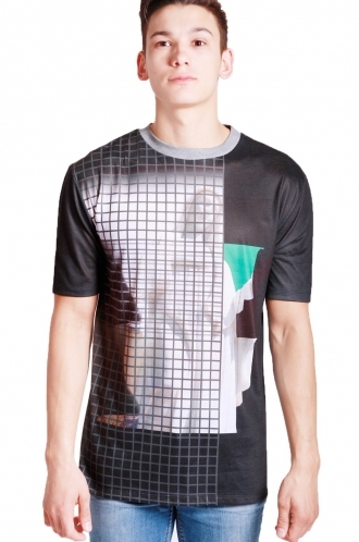 FFOMO Tyler Mother Mary & Grid Print Classic Fit T-shirt
