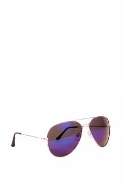 Unisex Harley Aviator sunglasses with Gold frame and blue lens