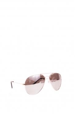 Unisex Rowan Aviator gold framed, silver lens sunglasses.