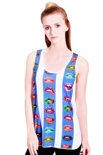 FFOMO Vanessa vest with printed lips stripes