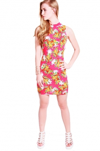 FFOMO Victoria floral print body con with cut out side panels