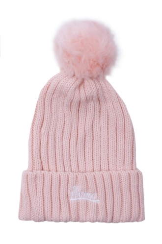 FFOMO Womens Baby Pink Faux fur Embroidered Beanie