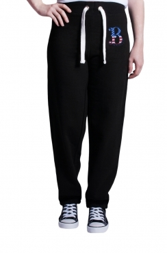 Womens Brooklyn Embroidered Black Jogger