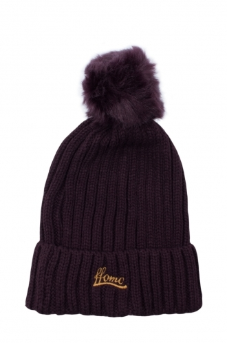 FFOMO Womens Dark Purple Faux fur Embroidered Beanie