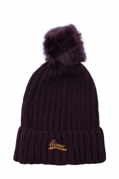 Womens Dark Purple Faux fur Embroidered Beanie