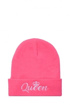 Womens Neon Pink Queen Embroidered Beanie Hat