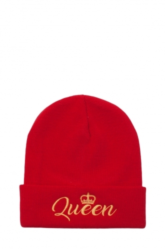 FFOMO Womens Red Queen Embroidered Beanie Hat