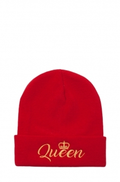 Womens Red Queen Embroidered Beanie Hat