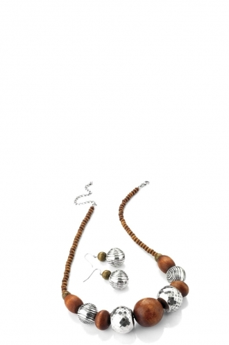 FFOMO Wood Bead Effect Necklace and Earring Set