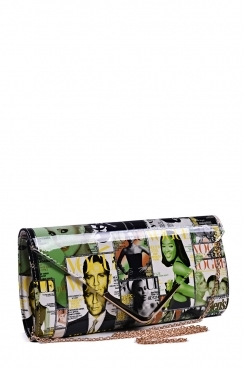 Yellow/Green Magazine Print Envelope Clutch Bag