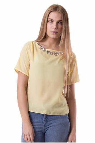 FFOMO Yellow Hannah Crop Necklace Blouse