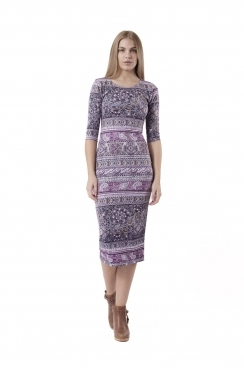 Zoey Purple Paisley Midi BodyCon Dress