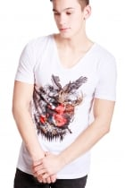 Archie Mixed College Print Slim Fit with Deep V Neckline T-shirt
