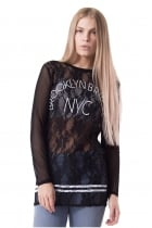 Cora Black Mix Mesh and Lace New York Print Top