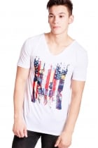 Daniel USA Print Slim Fit with Deep V Neckline T-shirt