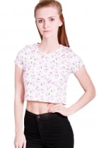 Emilia watercolored watermelon printed crop top with scoop neck short sleeve