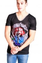 Freddie college Print Slim Fit with Deep V Neckline T-shirt