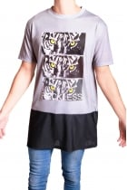 Jacob Tiger print long oversized T-shirt with Airtex Hem