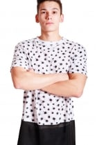 Joshua Ink Dot Print long over sized T-shirt With Black  Airtex Hem
