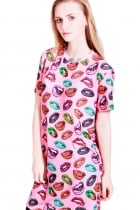 Melissa t-shirt dress with all over lip print
