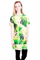 Naomi t-shirt dress with Hawaiian leaf print