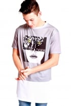 Noah Eye Like Tiger Print long over sized T-shirt With White Airtex Hem