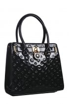 Printed Black Patent Tote Bag