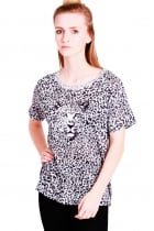 Ria oversized t-shirt leopard print with Leopard face.