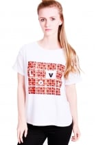 Tamara Oversized t-shirt with poppy print and love slogan.