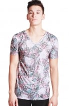 Tony Tropical leaf print Slim Fit with Deep V Neckline T-shirt