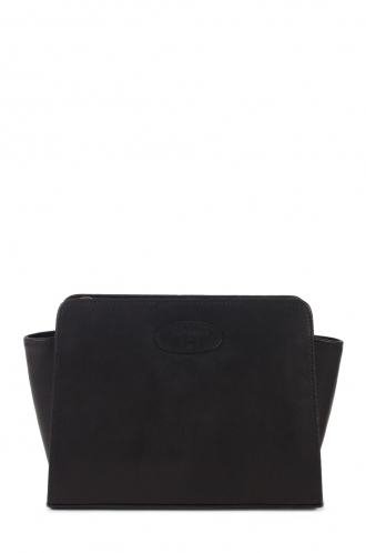 FFOMO Small Black Cross Body Real Leather Bag with ffomo logo patch