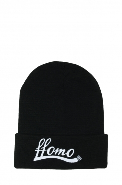 Unisex Black FFOMO Embroidered Beanie Hat