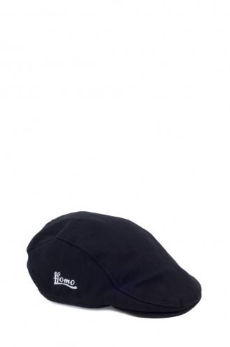 FFOMO Unisex Black Herringbone Embroidered FFOMO Flat Cap