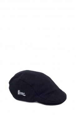 Unisex Black Herringbone Embroidered FFOMO Flat Cap