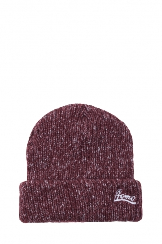 FFOMO Unisex FFOMO Embroidered Mixed Knit Burgundy Beanie