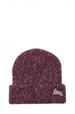 Unisex FFOMO Embroidered Mixed Knit Burgundy Beanie