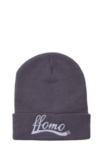 FFOMO Unisex FFOMO Grey Embroidered Beanie hat