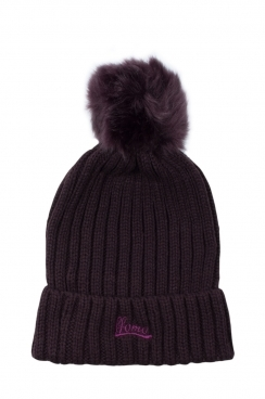 Womens Dark Purple Faux fur Embroidered ffomo logo Beanie