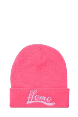 FFOMO Womens Neon Pink FFOMO Embroidered Beanie Hat