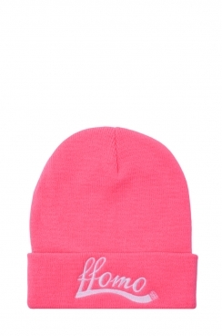 Womens Neon Pink FFOMO Embroidered Beanie Hat